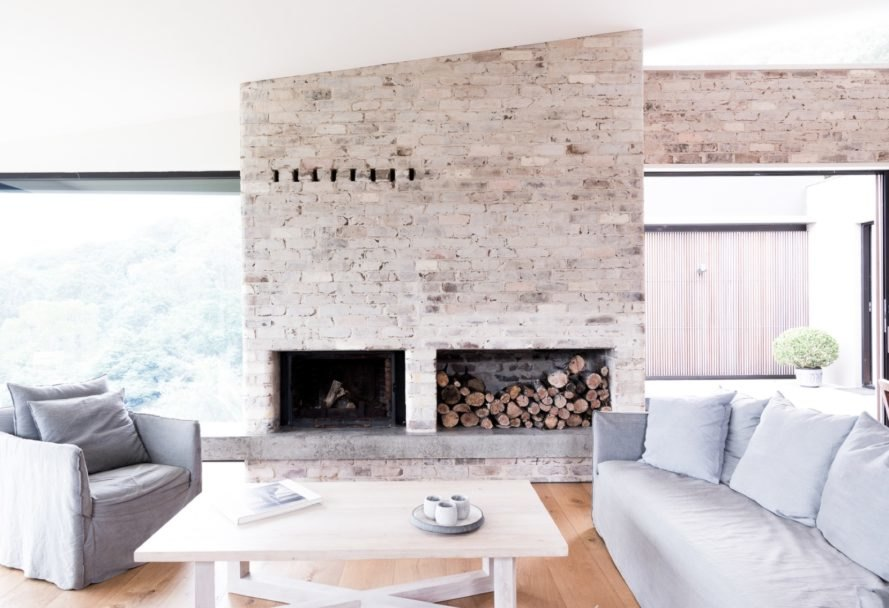 In Addition To The Whitewashed Recycled Brick Wall Home Interiors Are Dressed Australian Hardwood White Surfaces And Other Minimalist Materials