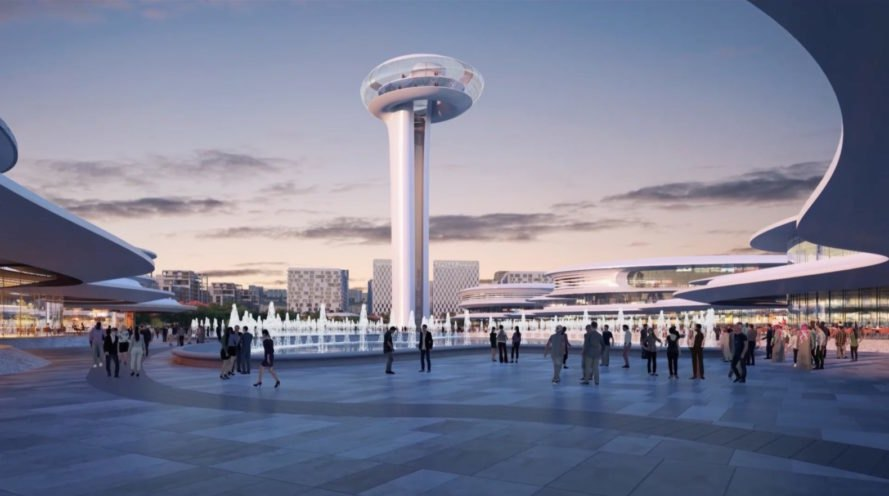 rendering of people walking with rounded tower and buildings in the distance