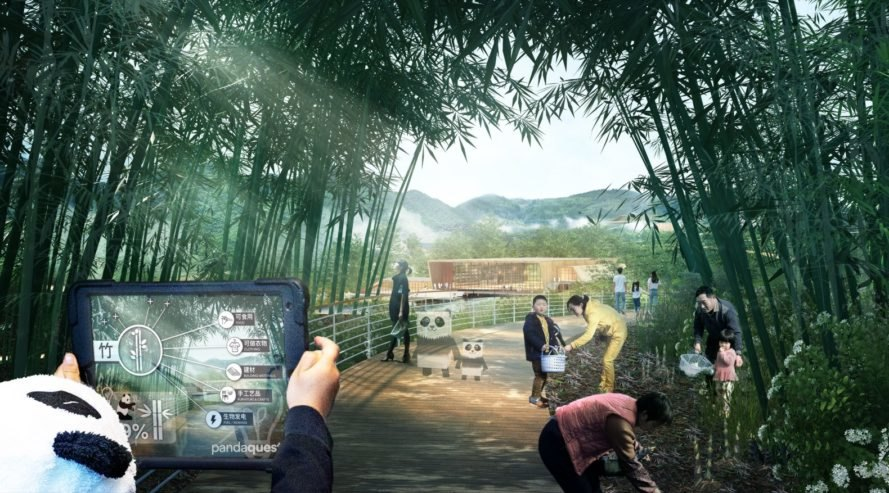 rendering of people on a boardwalk surrounded by bamboo