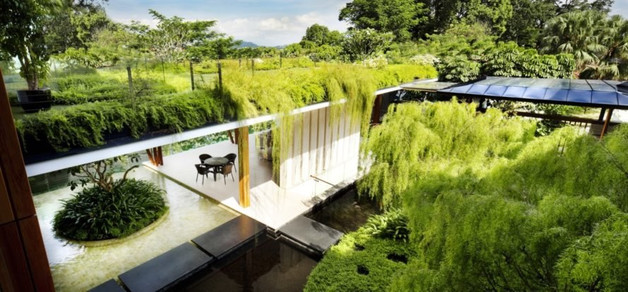 green roofs topping a white home