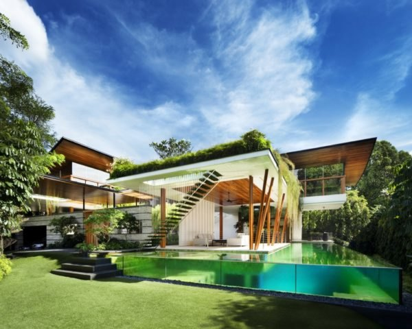 white and timber home with pool in foreground and greenery draping over roofline