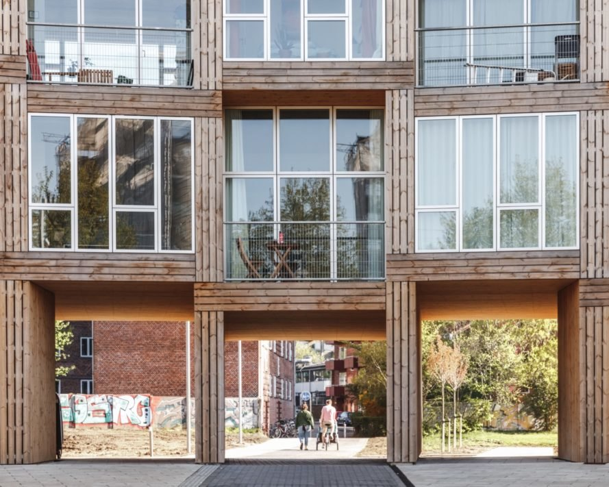 timber and glass apartments with balconies