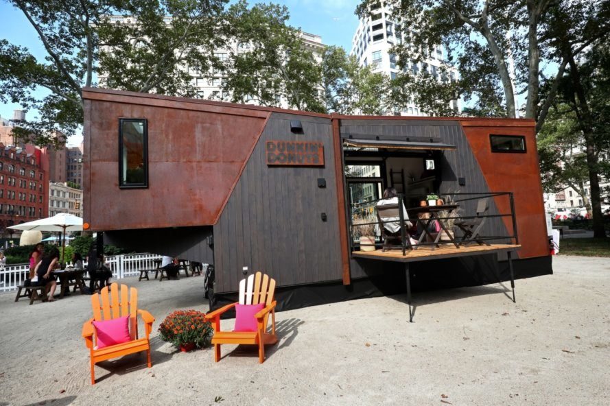 a tiny home with dark wood and black cladding in New York City