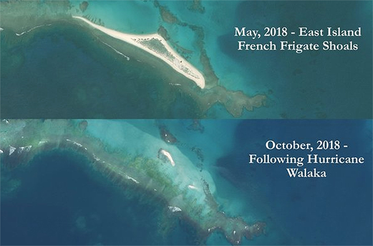 maps showing East Island before and after Hurricane Walaka