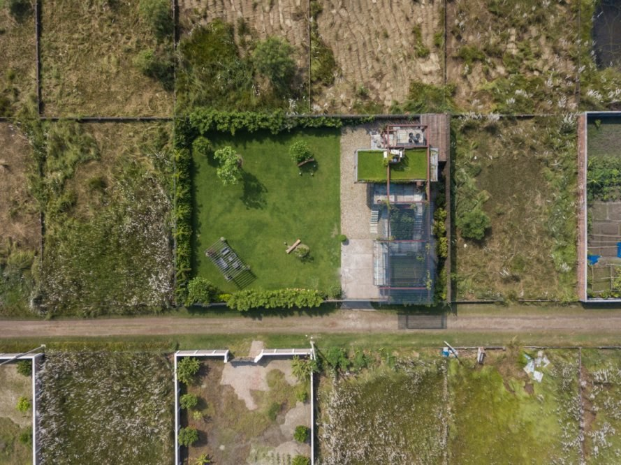 aerial view of green-roof on shipping container home