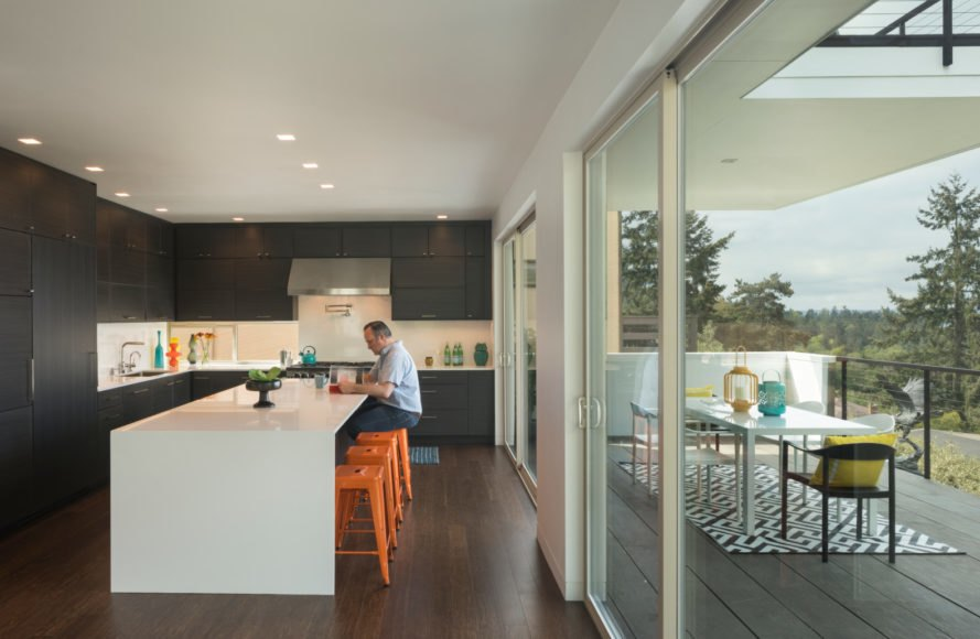 kitchen with large glass doors