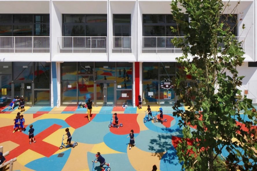 colorful outdoor floor with children playing outside