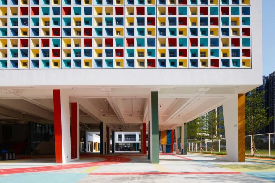 elevated colorful school building