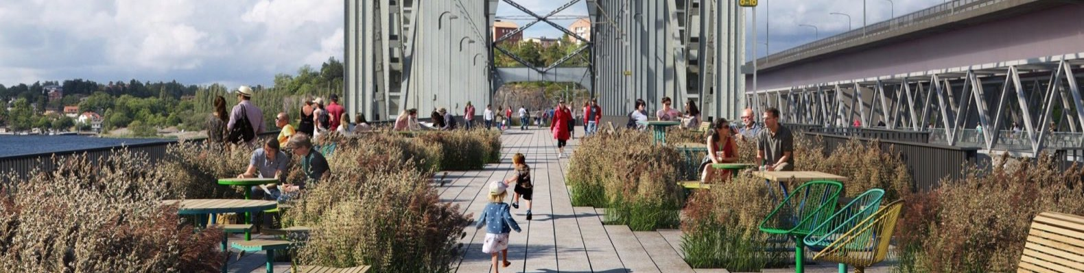 rendering of park with seats and plants on a bridge