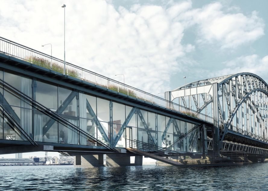 rendering of apartments with glass walls built under a bridge