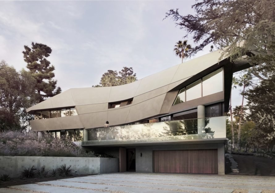 This sculptural home takes cues from the sloping Hollywood Hills landscape