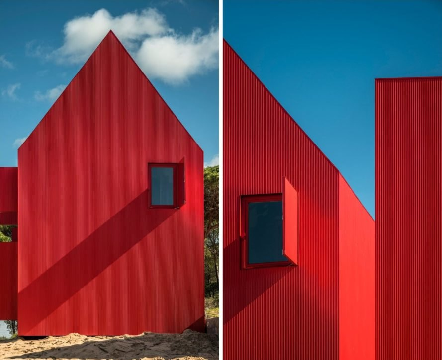 red home with gabled roof