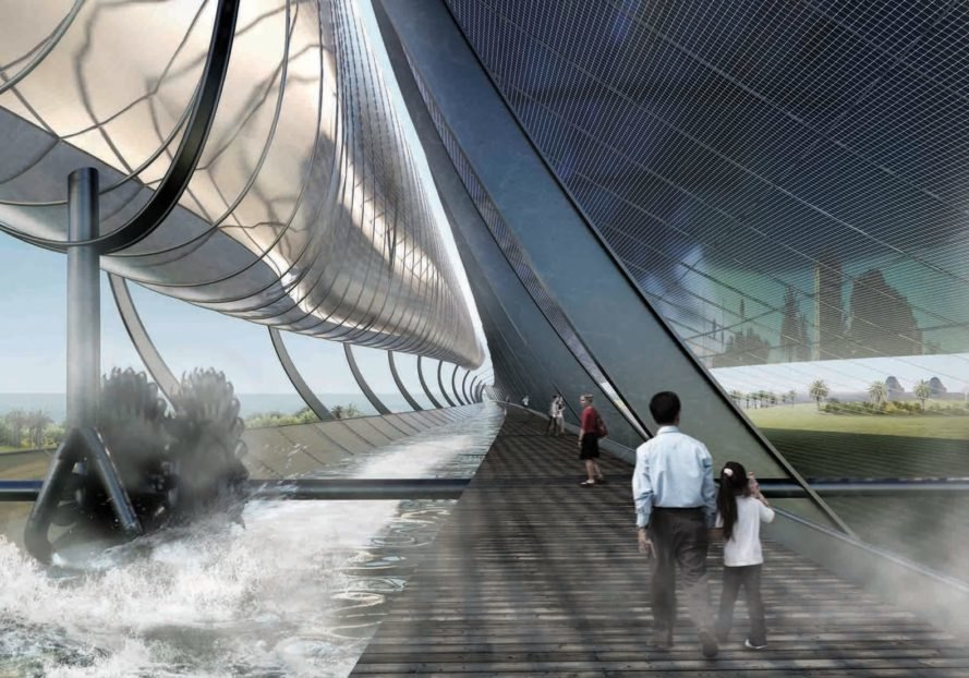 rendering of people walking on a boardwalk beneath curving solar sail