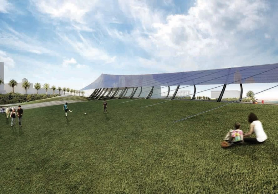 rendering of people playing in grass near solar sail