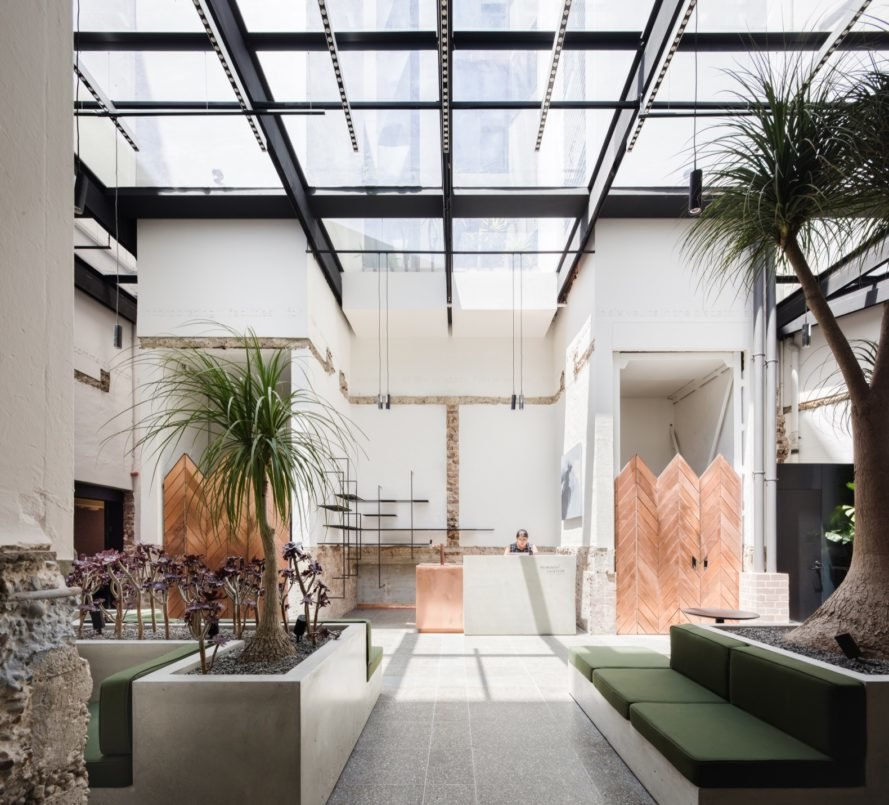 bright lobby with skylights