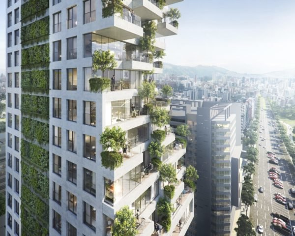 rendering of tower with staggering terraces and a green wall
