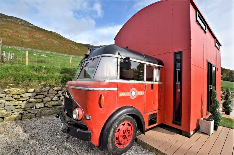 Slide down a fire pole in this classic fire truck converted into a quirky hotel
