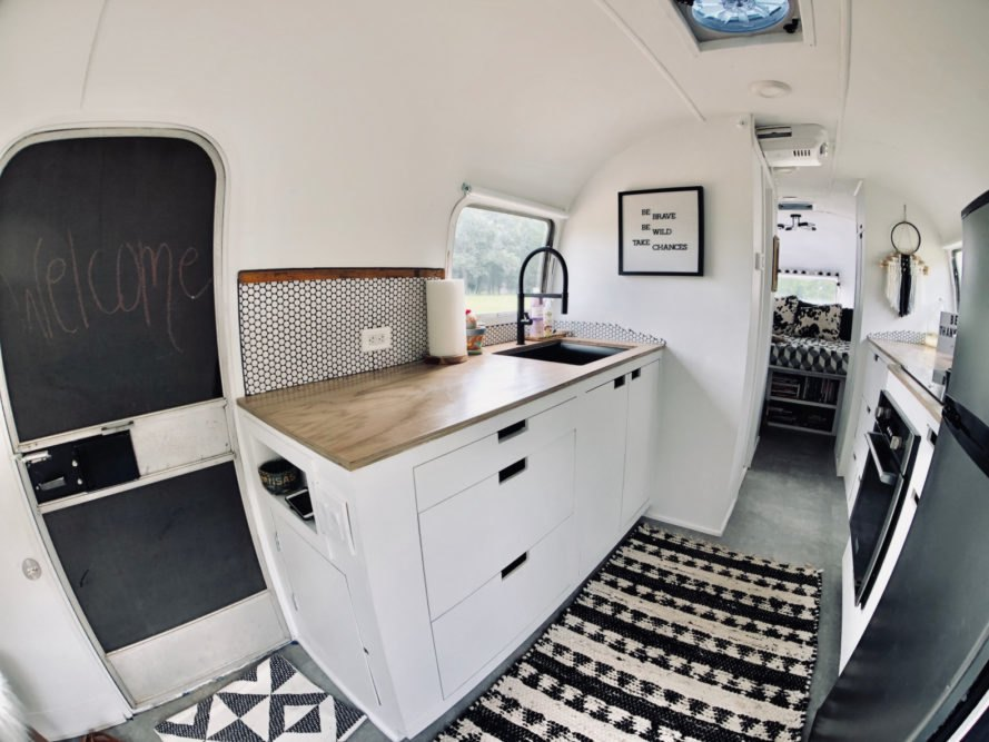 A 1972 Airstream becomes a bright, 198-square-foot home for a family of four
