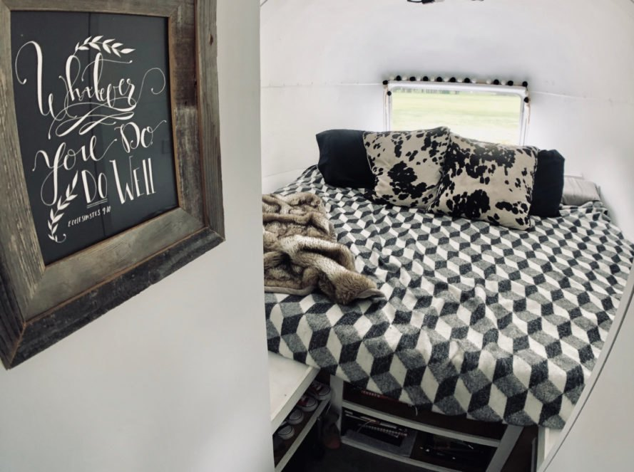 bedroom with black and white blanket