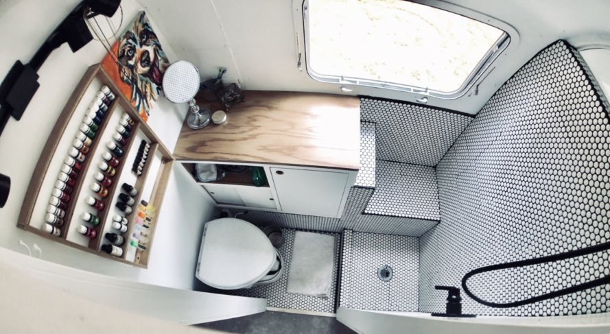 aerial shot of a compact bathroom