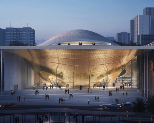 rendering of concert hall with curvy roof