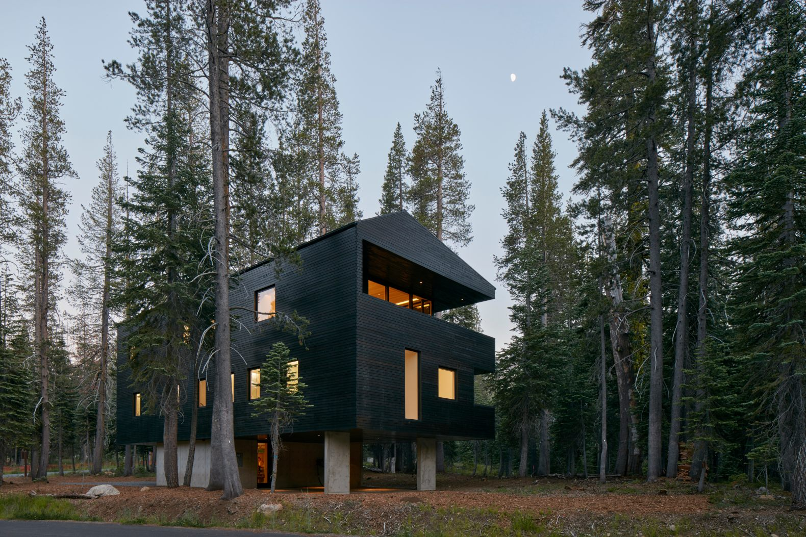 A dark, timber home rests peacefully among evergreen pine trees