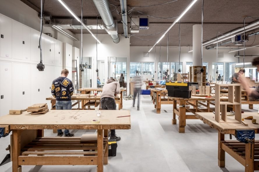 workshop with wood tables