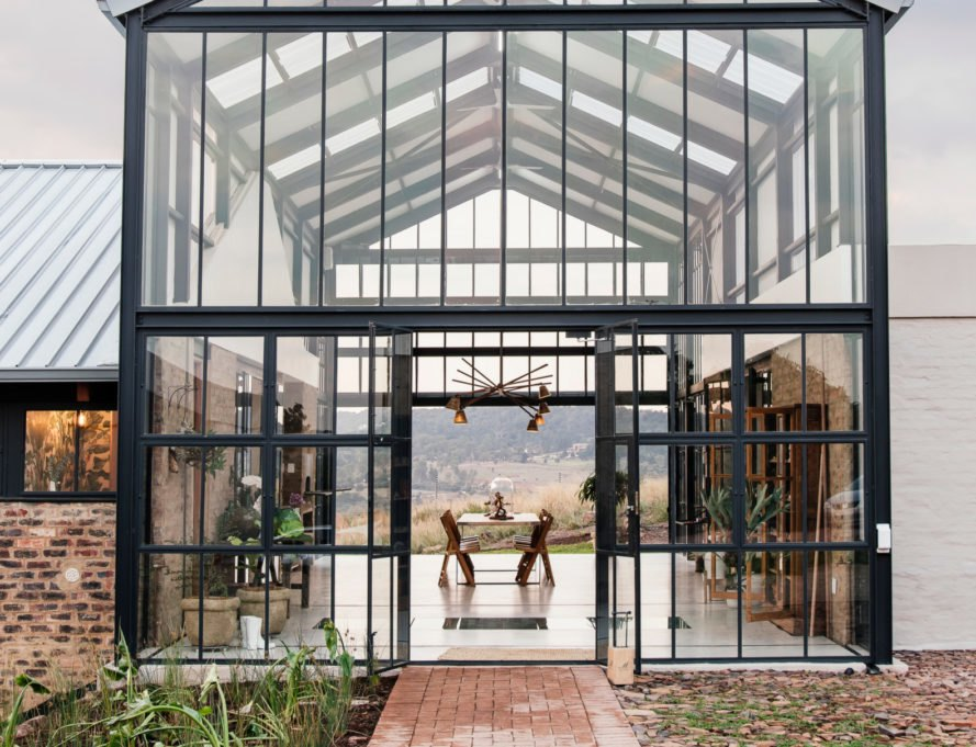 Large glass conservatory with black framing