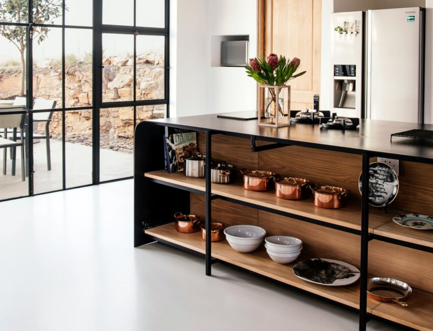 kitchen with large black island