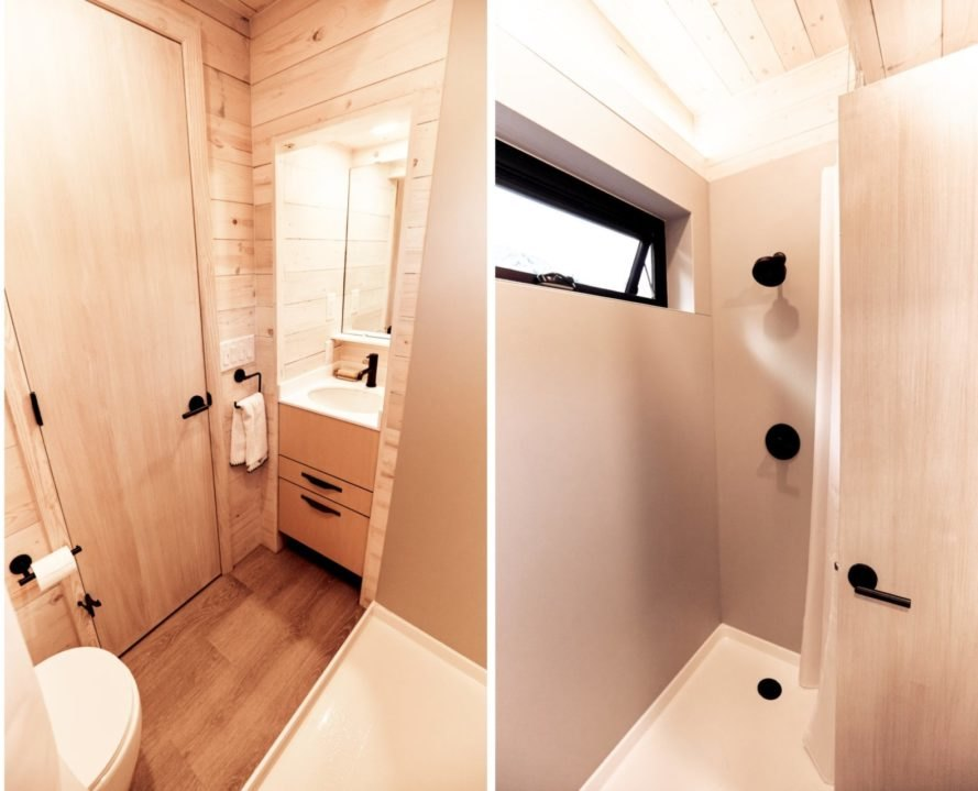 wooden bathroom with full shower