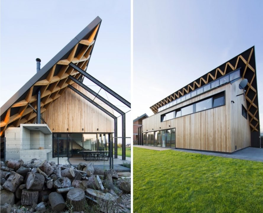 timber home with sloped roof
