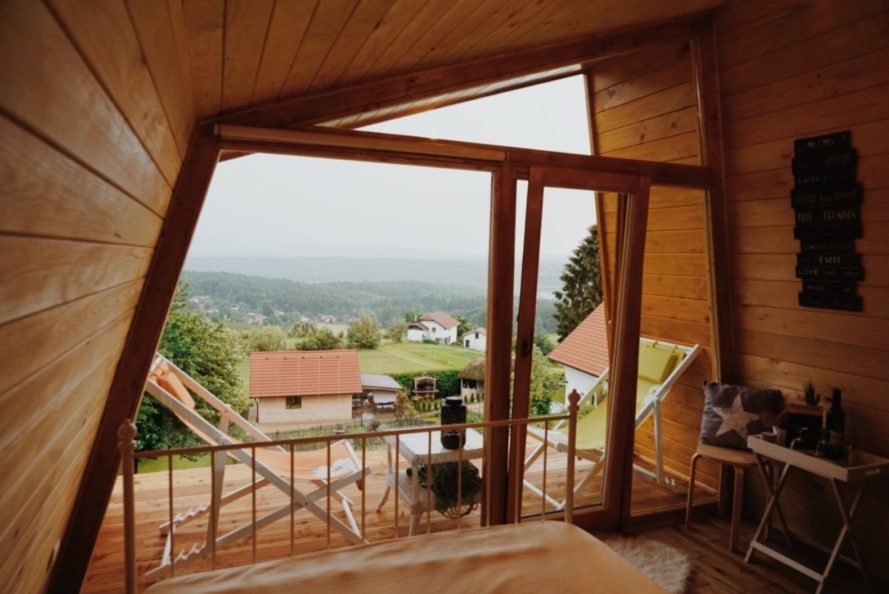 outdoor view from wood cabin interior