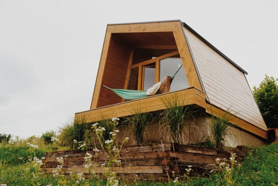 geometric cabin with hammock on front deck