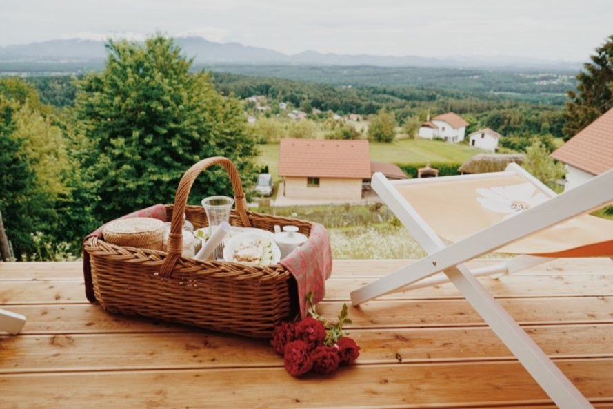 a picnic basket on a table