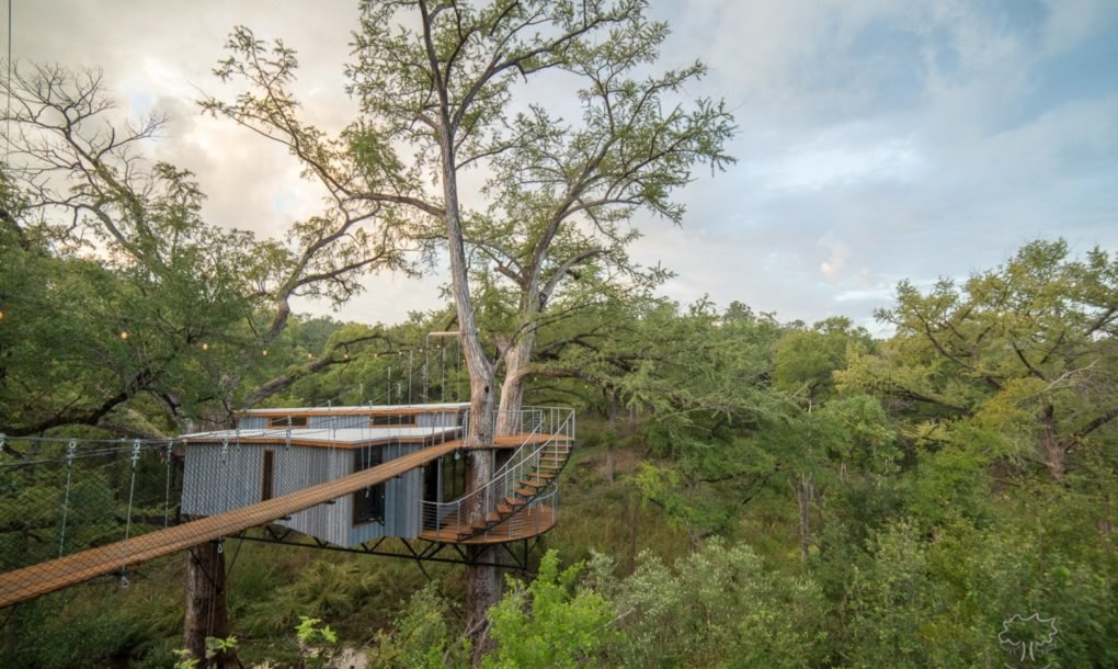 A treehouse made from sustainable wood hides a luxurious interior