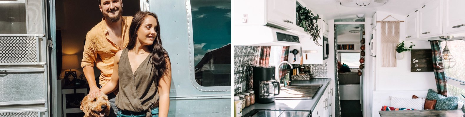 On the left, man, woman and dog standing outside an airstream. On the right, bright Airstream interior with white walls and a small kitchen and dining space.