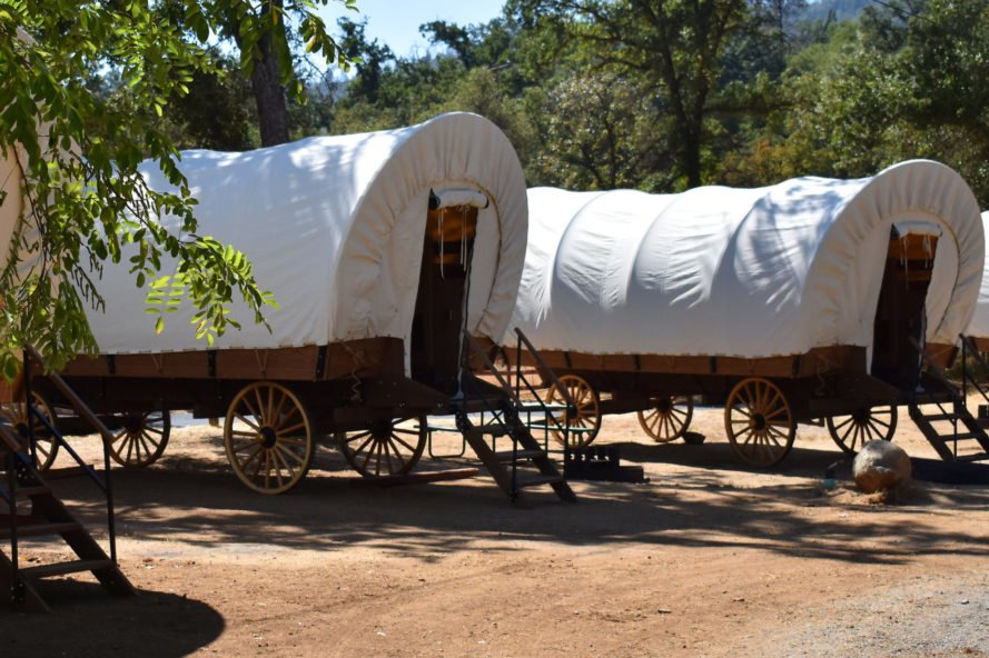 a row of covered wagons