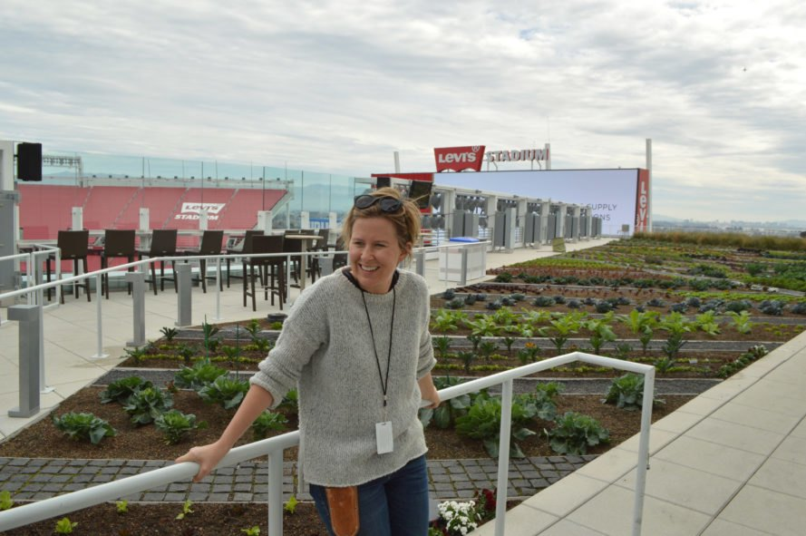 Woman standing by gardens near Levi's Stadium