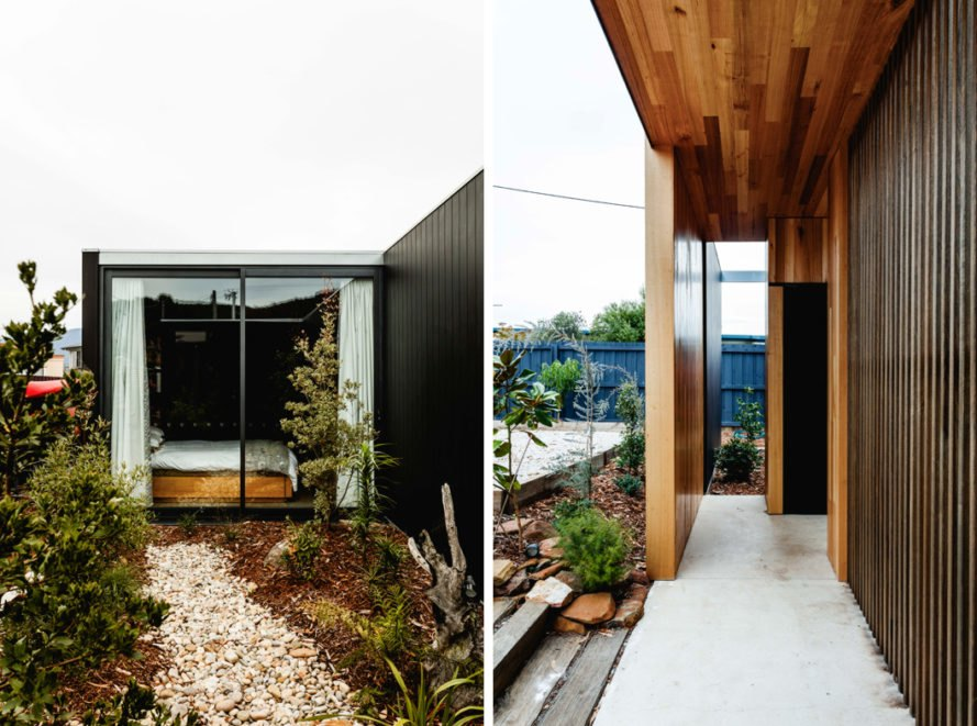 plants surrounding a timber home