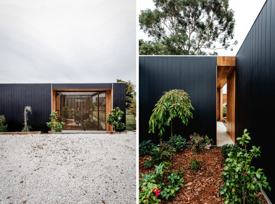 Gardens and plants surrounding a black timber home
