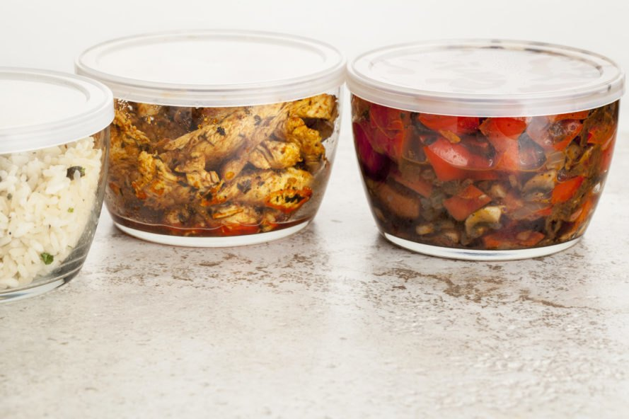 leftover food inside glass containers