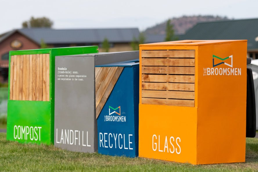 landfill, recycle and compost bins