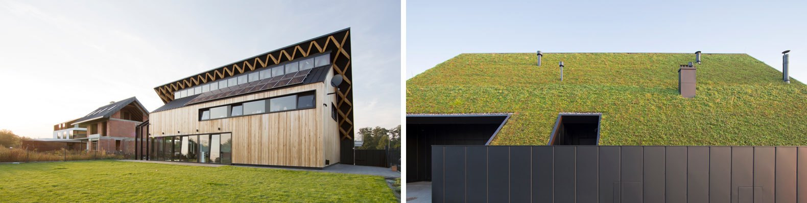 On the left, timber home with sloped roof. On the right, large sloped green roof.
