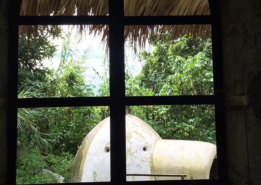 view of white dome from a paned window