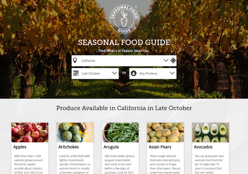 Computer screenshot of Seasonal Food Guide front page