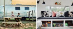 On the left, kids playing in front of an airstream. On the right, black and white sofa with several throw pillows.