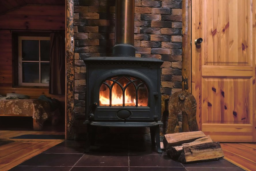 fire burning in a wood-burning stove