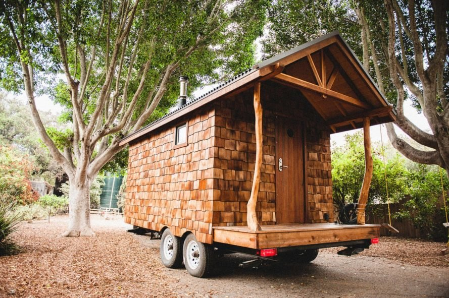 wooden tiny home on wheels