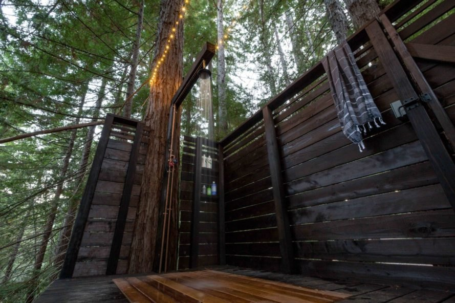 a suspended outdoor shower