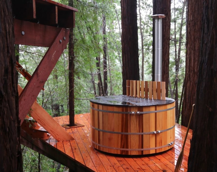 a hottub on a wooden deck